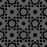 Halftone round black seamless background Islam star cross Royalty Free Stock Image