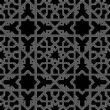 Halftone round black seamless background Islam star cross kaleid Stock Photo