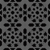 Halftone round black seamless background Islam star geometry Stock Images