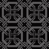 Halftone round black seamless background octagon frame cross  Stock Photos