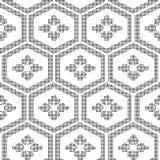 Halftone round black seamless background polygon frame flower Royalty Free Stock Photo