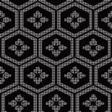 Halftone round black seamless background polygon frame flower Stock Image