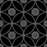 Halftone round black seamless background round cross frame flowe Stock Images