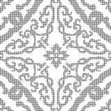 Halftone round black seamless background spiral cross frame flow Stock Image
