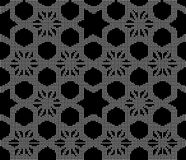 Halftone round black seamless background star geometry cross pol. Ygon can be used for both print and web page Royalty Free Stock Photo