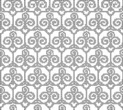 Halftone round black seamless background trefoil curve spiral cr Stock Photo