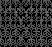 Halftone round black seamless background trefoil curve spiral cr Royalty Free Stock Images