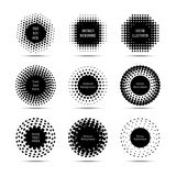 Halftone round design vector elements. Circle pop art banners set Stock Image