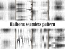 Halftone seamless pattern set, dotted backdrop with heart pop art style. St. Valentine`s Day a collection of backgrounds. Black and white colors. Vector Stock Photo