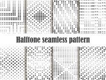 Halftone seamless pattern set, dotted backdrop with heart pop art style. St. Valentine`s Day a collection of backgrounds. Black and white colors. Vector Royalty Free Stock Photos