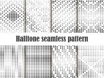Halftone seamless pattern set, dotted backdrop with heart pop art style. St. Valentine`s Day a collection of backgrounds. Black and white colors. Vector Stock Images