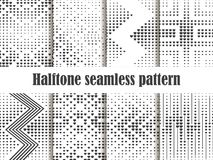 Halftone seamless pattern set, dotted backdrop with heart pop art style. St. Valentine`s Day a collection of backgrounds. Black and white colors. Vector Royalty Free Stock Images