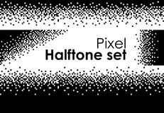 Halftone set futuristic 8-bit computer hi-tech design. 8 bit pixel art design space stock illustration