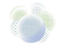 Halftone Shaded Circles. Varying halftone patterns inside of shaded circles create a unique graphic for many uses Stock Illustration