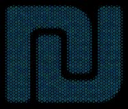 Shekel Composition Icon of Halftone Spheres. Halftone Shekel mosaic icon of empty circles in blue color tints on a black background. Vector empty circles are Stock Images