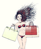 Halftone shopping bikini girl Royalty Free Stock Photo