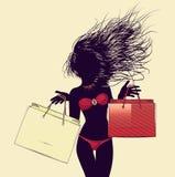 Halftone shopping bikini girl silhouette Stock Image