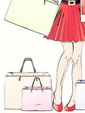Halftone shopping woman legs Stock Photo