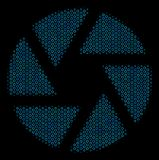 Shutter Mosaic Icon of Halftone Spheres. Halftone Shutter mosaic icon of spheric bubbles in blue color tones on a black background. Vector circle bubbles are Stock Image