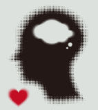 Halftone  silhouette of the head, brain, and love. Halftone  elements. Silhouette of the head, brain, and love heart. Process of human thinking.. You can use in Stock Photo