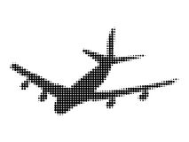 Halftone silhouette of plane Stock Photography