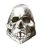 Halftone skull. Design element. Invitation, party. Mosaic, perforation, grunge. Halftone skull. Design element. Invitation, party. Mosaic perforation grunge Stock Photo