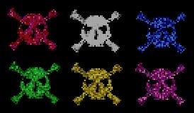 Halftone skull, line, Wave. Design element. Invitation, party. Billboard, flyer. Icon. Mosaic, pixel, square. Set colorful halftone skull, . Design element. Icon Stock Photo