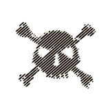 Halftone skull, line, Wave. Design element. Invitation, party. Billboard, flyer. Icon. Halftone skull, line, pirat Wave Icon Vector Stock Images