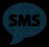 SMS Collage Icon of Halftone Spheres. Halftone SMS mosaic icon of circle bubbles in blue color hues on a black background. Vector circle bubbles are united into Stock Photos