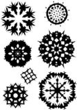 Halftone snowflakes. Vector illustartion of snowflake designs with damaged, halftone edge royalty free illustration