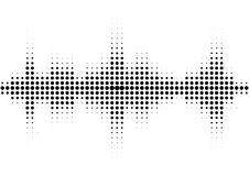 Halftone sound wave black and white pattern. Tech music design elements isolated on white background. Perfect for web design, posters, musical banners Royalty Free Stock Photos