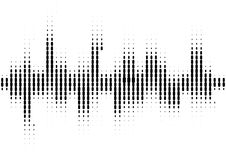 Halftone sound wave black and white pattern. Tech music design elements isolated on white background. Perfect for web design, posters, musical banners Royalty Free Stock Images