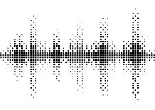 Halftone sound wave black and white pattern. Stock Photo