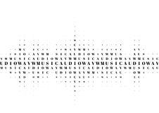 Halftone sound wave black and white pattern. Tech music design elements isolated on white background. Perfect for web design, posters, musical banners Stock Photo