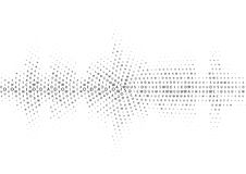 Halftone sound wave black and white pattern. Tech music design elements  on white background. Perfect for web design, posters, musical banners, wallpapers Stock Images