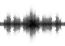 Halftone sound wave black and white pattern. Tech music design elements isolated on white background. Perfect for web design, posters, musical banners Stock Image