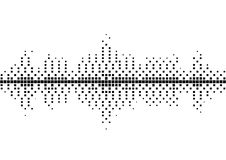 Halftone sound wave black and white pattern. Tech music design elements isolated on white background. Perfect for web design, posters, musical banners Stock Photos