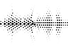 Halftone sound wave black and white pattern. Tech music design elements isolated on white background. Perfect for web design, posters, musical banners Royalty Free Stock Image