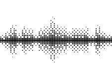 Halftone sound wave black and white pattern. Tech music design elements isolated on white background. Perfect for web design, posters, musical banners Stock Images