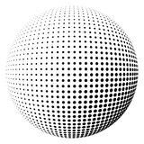 Halftone sphere black light. Abstract round 3d black sphere consisting of dots in form of halftone. Scientific and technical frame illustration. Flat vector Royalty Free Stock Photo