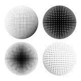 Halftone sphere black set Stock Photo