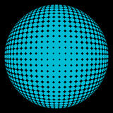 Halftone sphere blue on black. Abstract round 3d blue sphere consisting of dots in form of halftone. Scientific and technical frame illustration. Flat cartoon stock illustration