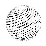 Halftone sphere isolated on white background. Royalty Free Stock Image