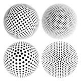 Halftone Sphere. Set of Abstract Halftone 3D Sphere with Circle Dots. Futuristic Design Element in Techno Style. Vector illustration Royalty Free Stock Photography