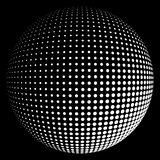 Halftone sphere white light. Abstract round 3d white sphere consisting of dots in form of halftone. Scientific and technical frame illustration. Flat vector Royalty Free Stock Image