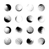 Halftone spheres, design elements Stock Images