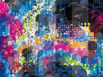 Halftone Splatter Explosion. Splatter Explosion Halftone Background created from bright colors Stock Illustration