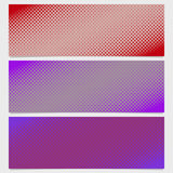 Halftone square pattern banner template set - vector design from diagonal squares Stock Images