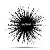 Halftone star frame. Grunge spot border using halftone circle dots raster texture. Sale. Boom shape. Explosion. Vector. royalty free illustration