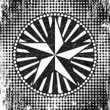 Halftone stijl stippelt achtergrond met cirkelkader, stralen en ster, zwart-witte illustratie Royalty-vrije Stock Afbeelding
